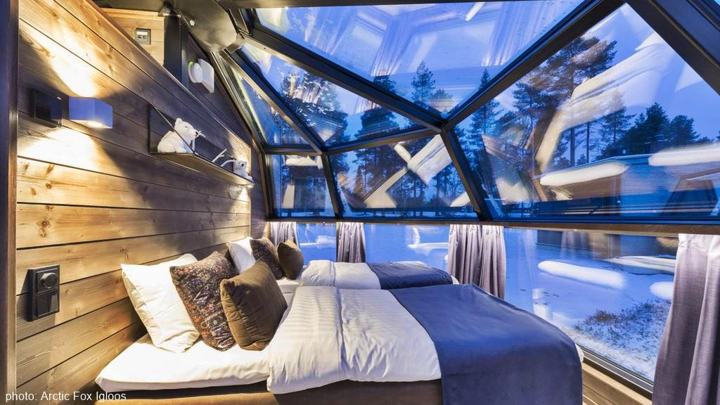 Arctic Fox Igloos, glass igloo hotel in Lapland, Finland
