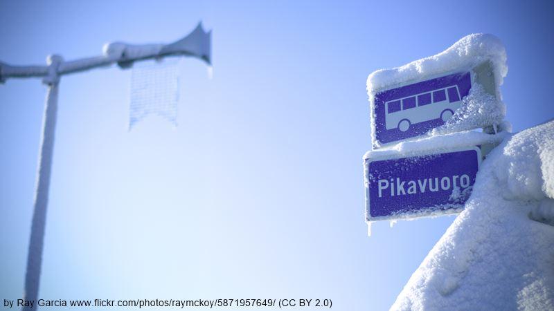 Rovaniemi winter bus stop