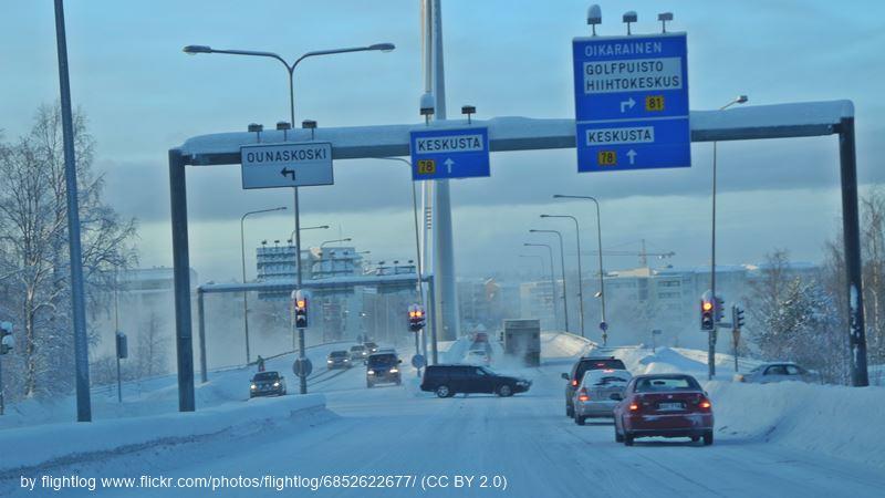 Rovaniemi winter street view
